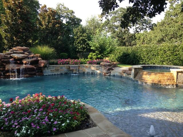 Katy pool spa and waterfall traditional pool for Pool design katy