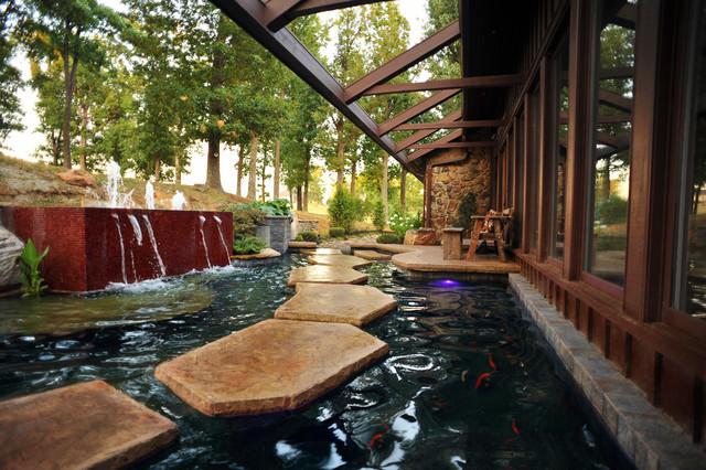 Kentucky residence koi pond fountain for Koi pond next to swimming pool