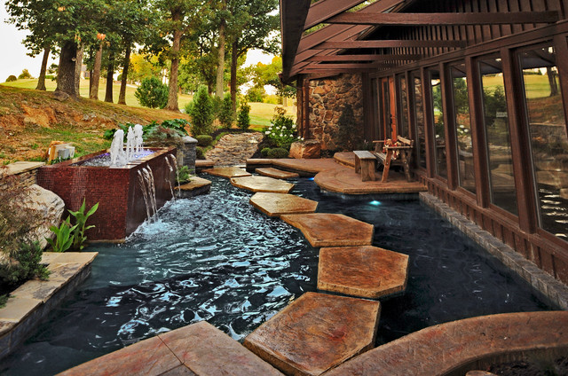 Kentucky residence koi pond fountain for Contemporary koi pond design