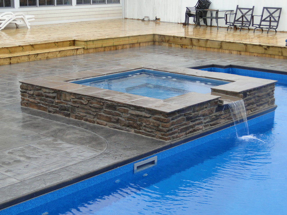 L Shaped Pool With Spillover Spa Modern Pool Other By Waterworks Pools Spas
