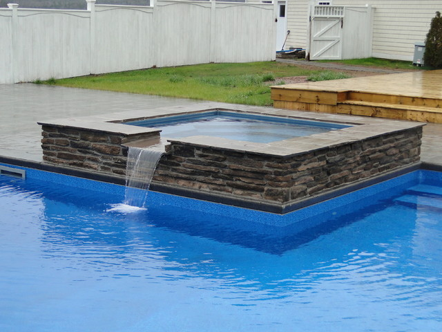 L Shaped Pool With Spillover Spa Modern Other