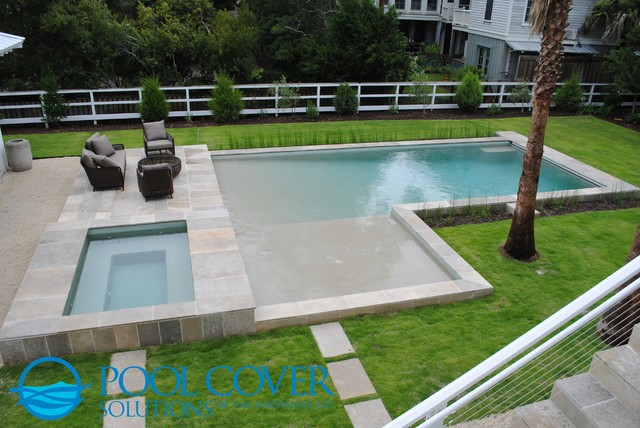 L Shaped Pool With Two Automatic Covers Beach Style
