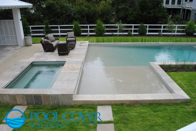 L Shaped Pool With Two Automatic Covers Coastal Swimming Pool Hot Tub Charleston By Pool Cover Solutions Se Llc Houzz Uk