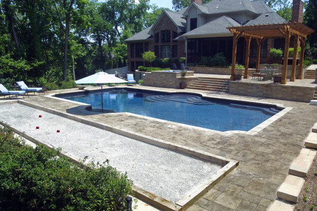 Ladue Outdoor Kitchen And Swimming Pool Traditional Pool St Louis By Liquid Assets Pools