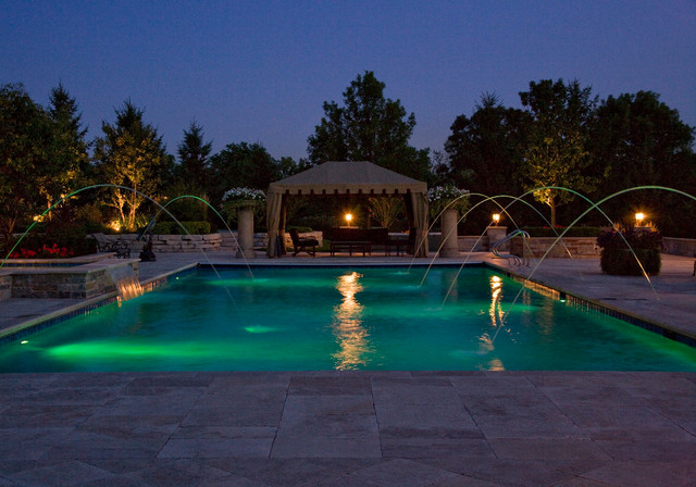 lake forest il swimming pool and raised hot tub with laminar fountains traditional pool