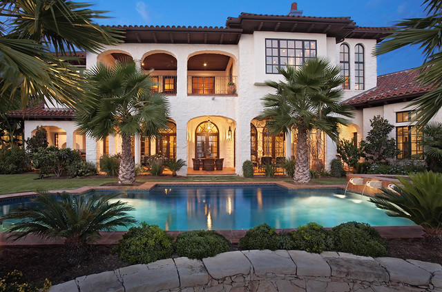 Lake Home Exterior mediterranean pool