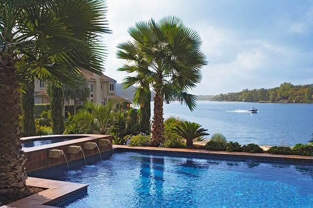 Lake Home Exterior mediterranean-pool
