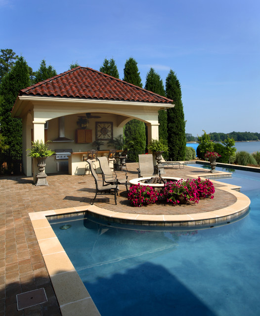 Lake house for House plans with outdoor kitchen and pool