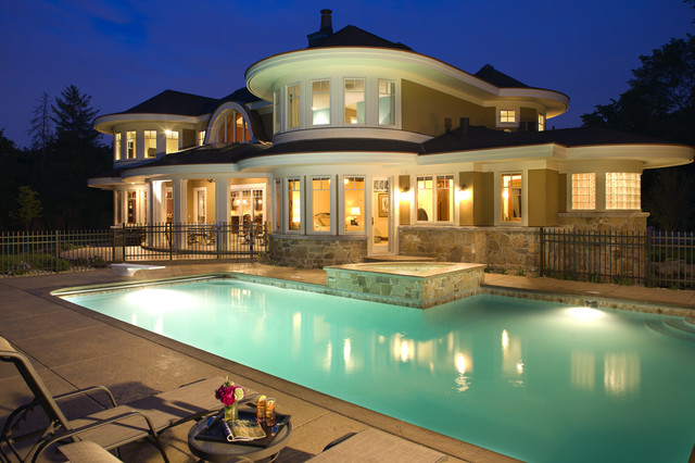Lakeside Exterior at Night eclectic pool