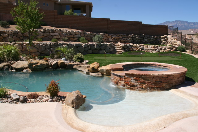 Inspiration for a mid-sized timeless backyard concrete and custom-shaped hot tub remodel in Salt Lake City