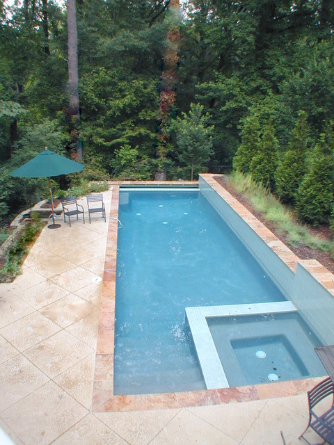Lap Pool Fits On Long Skinny Lot Walls Above And Below Pool Make It Work On Hil Eclectic