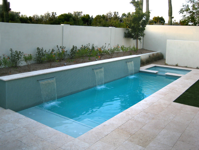 Lap pool or water feature, glass mosaics and modern lines ...