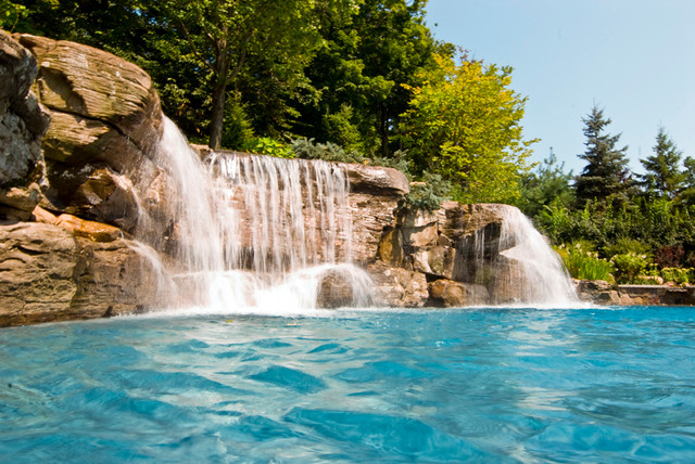 Large backyard swimming pool waterfall design bergen for Luxury pools with waterfalls