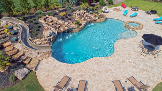 Large Custom Freeform pool with Slide, Grotto, Waterfall ...