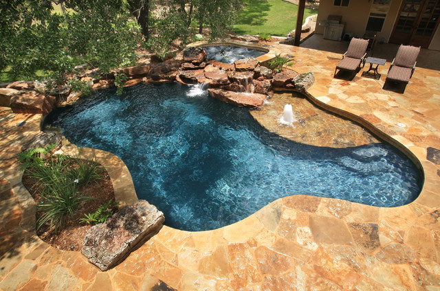 Large flagstone deck for Rustic pools