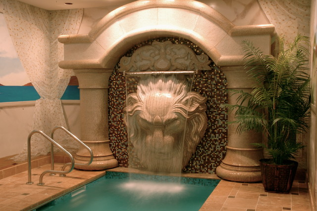 Pool Tile Water Fountain : Large lion head wall fountain mediterranean pool