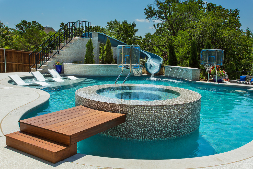Example of a trendy custom-shaped water slide design in Dallas