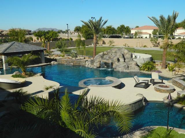 Lazy river pool swim up bar in arizona mediterranean for Pool design phoenix
