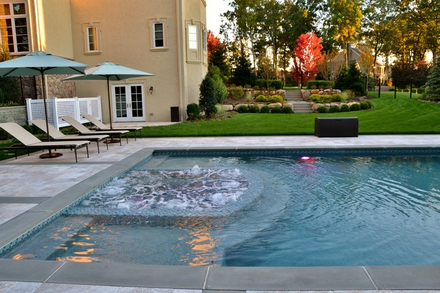 Livingston nj inground pool and spa design contemporary for Inground pool design inc