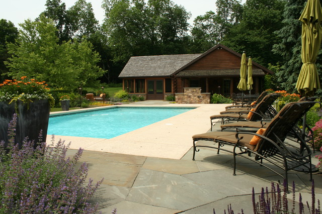 Log cabin retreat traditional pool philadelphia by for Log cabin retreat
