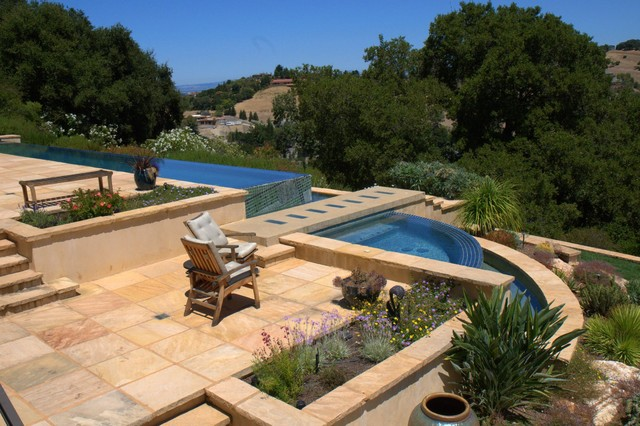 Los altos hills infinity edge swimming pool and spa for Infinity pool design uk
