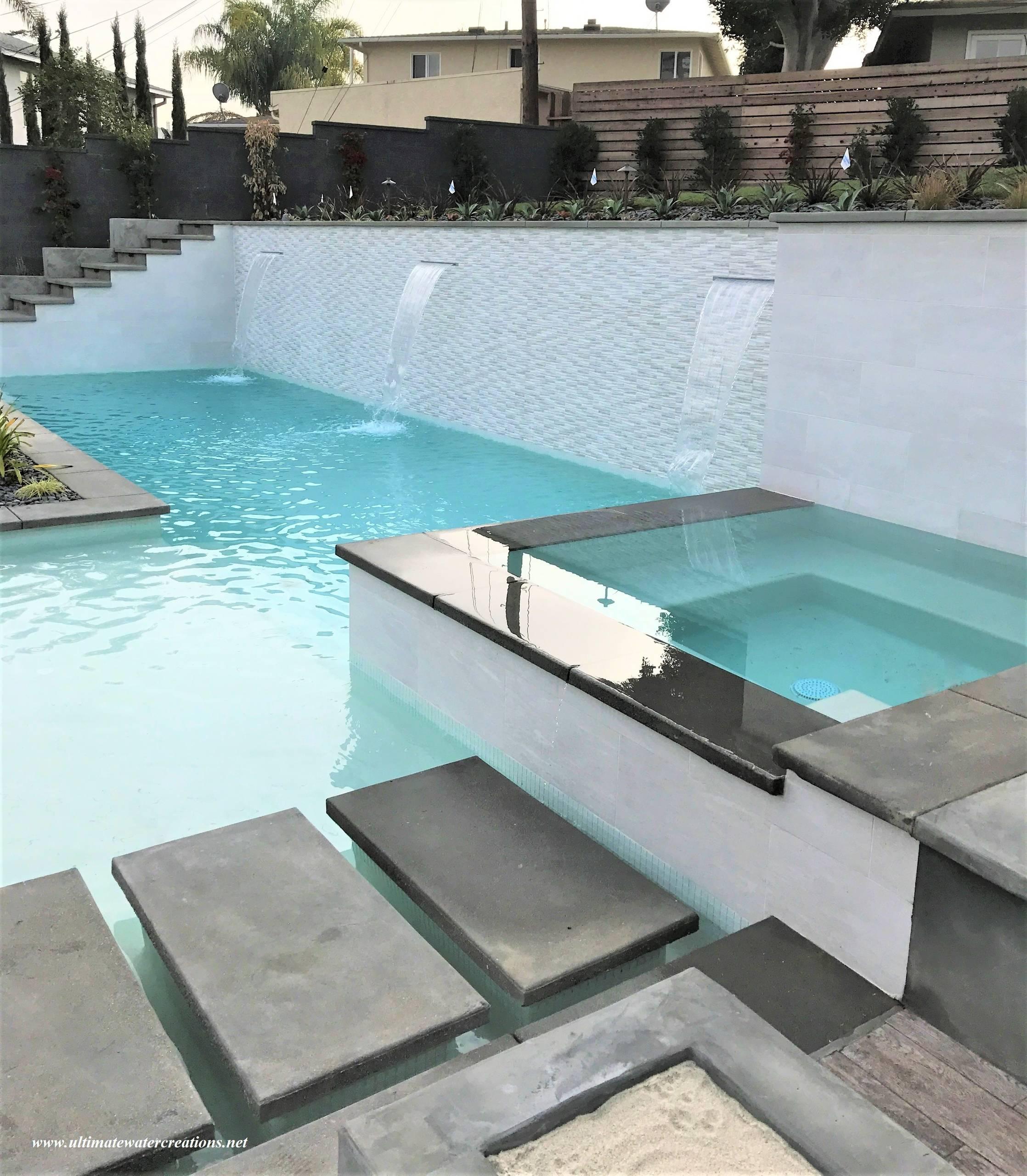 Los Angeles - Contemporary Black & White Rectangular Pool & Spa