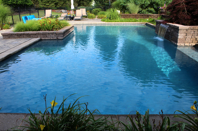 Lower Saucon Custom Pool With Raised Planters Sheer Descent Waterfall Traditional Pool