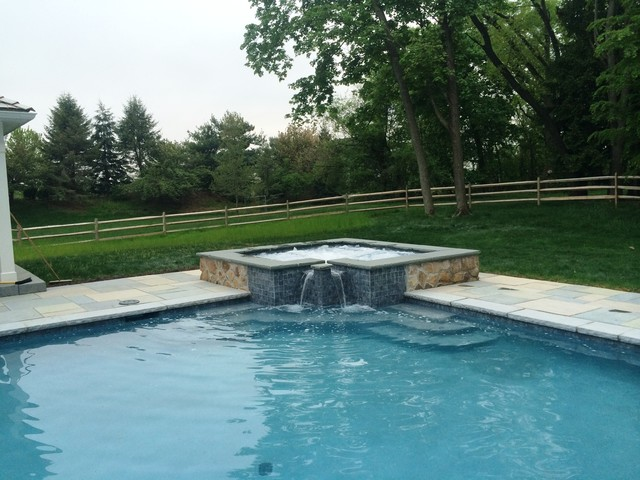 lower saucon township custom rectangular pool with raised spa traditional pool - Rectangle Pool With Spa