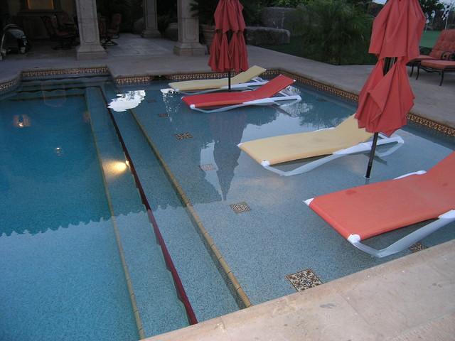 Luxurious desert oasis mediterranean pool san diego for Pool design with tanning ledge