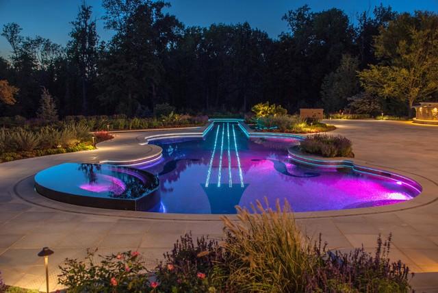 Luxury Glass Tile Inground Swimming Pool Design