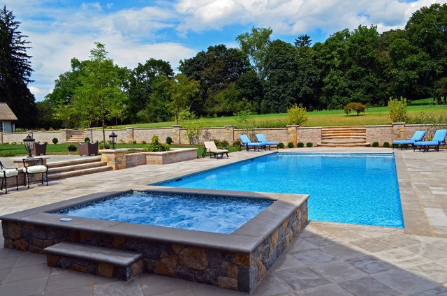 Luxury inground swimming pool spa design installation for Pool design hamilton nj