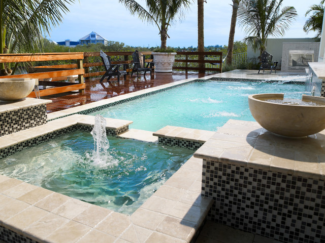 Luxury pool area by alvarez homes home builders in tampa for Pool design florida