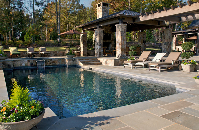 Mid Sized Mountain Style Backyard Rectangular And Stone Pool Fountain Photo In Atlanta