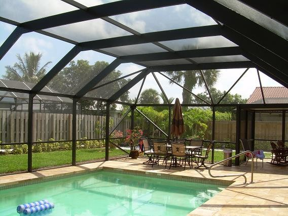 Mansard Roof Style Screen Pool Enclosure Tropical Pool