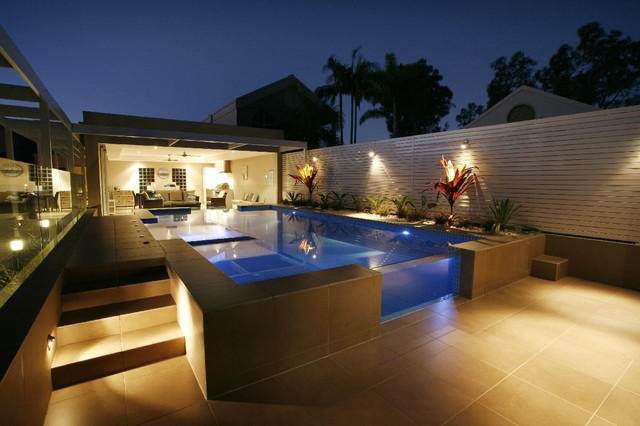 Photo Of A Mid Sized Modern Backyard Rectangular Aboveground Pool In  Newcastle   Maitland With