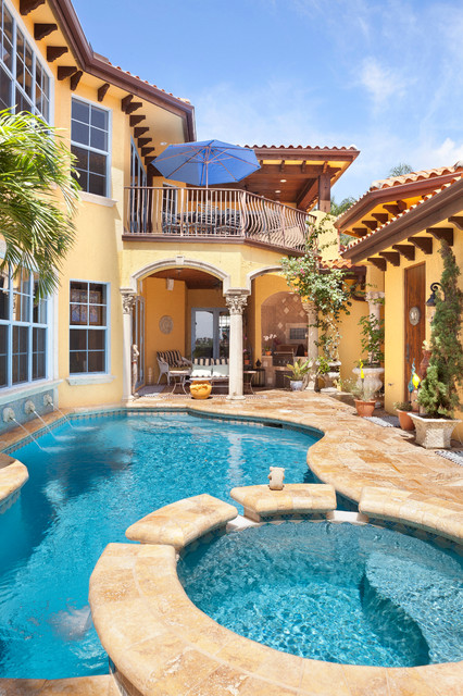 Interior home renovation west palm beach mediterranean pool charlotte by andrew roby - Palm beach swimming pool ...