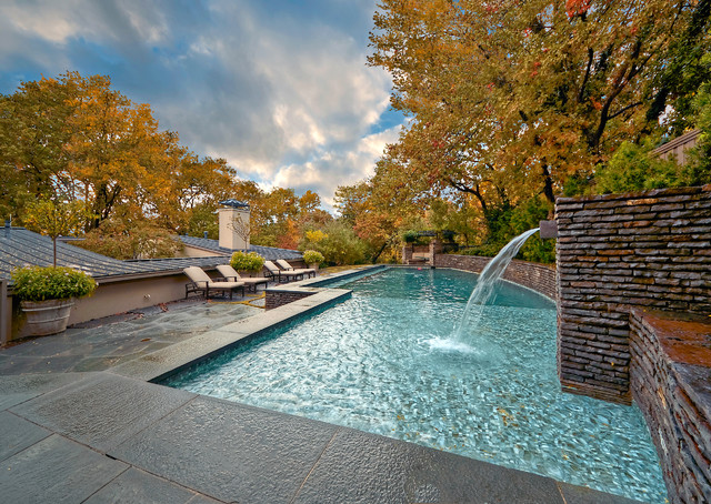Mid century modern residence garden midcentury pool for Garden city pool jobs