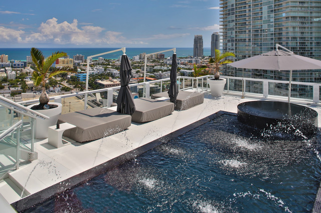 Miami Penthouse Mancave Rooftop Pool Contemporary Pool Miami on Modern Outdoor Patio Furniture
