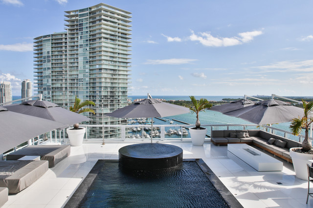 Contemporary Pool Miami Miami Penthouse Mancave Rooftop Pool contemporary-pool