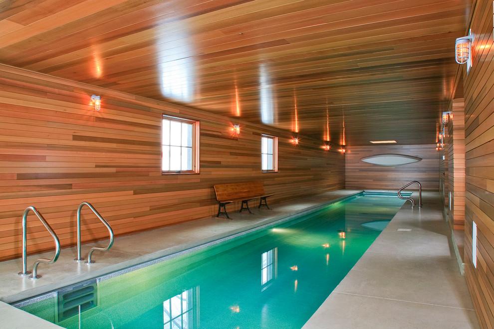 Farmhouse indoor pool photo in Detroit