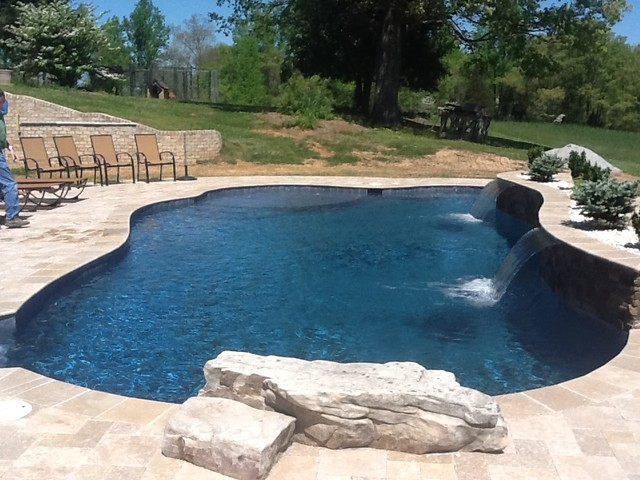 Midnight Blue Plaster With Quartz Traditional Pool Raleigh By Vue Custom Pools