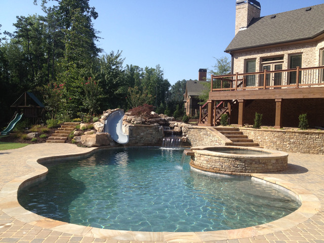 milton swimming pool with water slide traditional pool atlanta by boyce design and