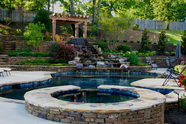 Mississippi natural pool spa waterfall design for Pool design jackson ms