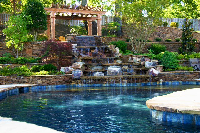 Mississippi natural pool spa waterfall design for Spa builders