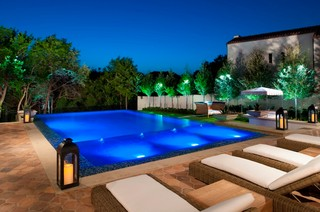 Modern Backyard Retreat Mediterranean Pool Dallas by Pool