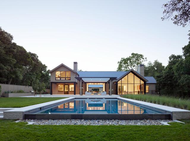 Cottage backyard rectangular lap pool photo in San Francisco