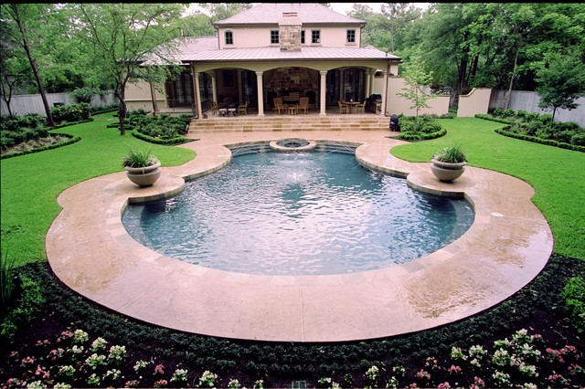 Modern French Landscape - Traditional - Pool - houston ...