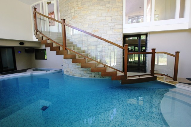 Home indoor pool and hot tub  Modern Indoor Pool - Modern - Swimming Pool & Hot Tub - Chicago ...