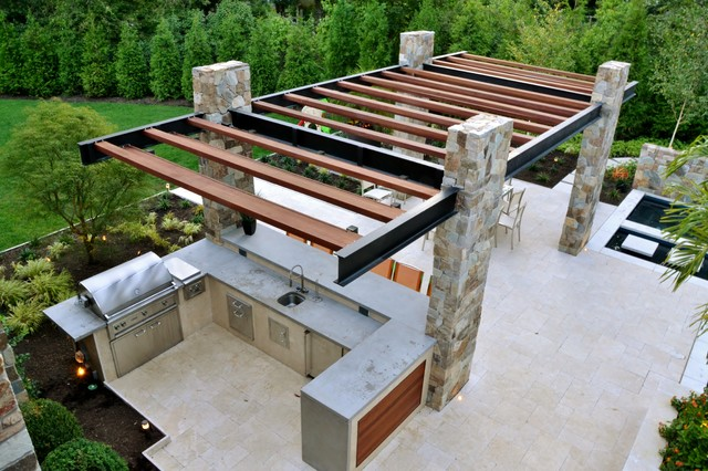 Modern Outdoor Kitchen Construction - Franklin Lakes NJ ...