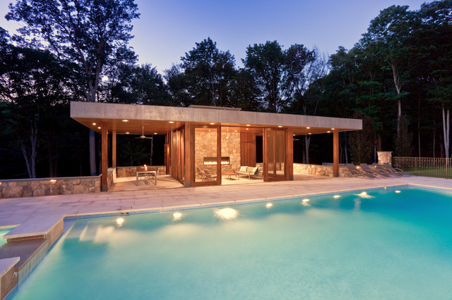 Modern Pool House Modern Swimming Pool New York By Jablonski Associates,Island Elegant Kitchen Designs